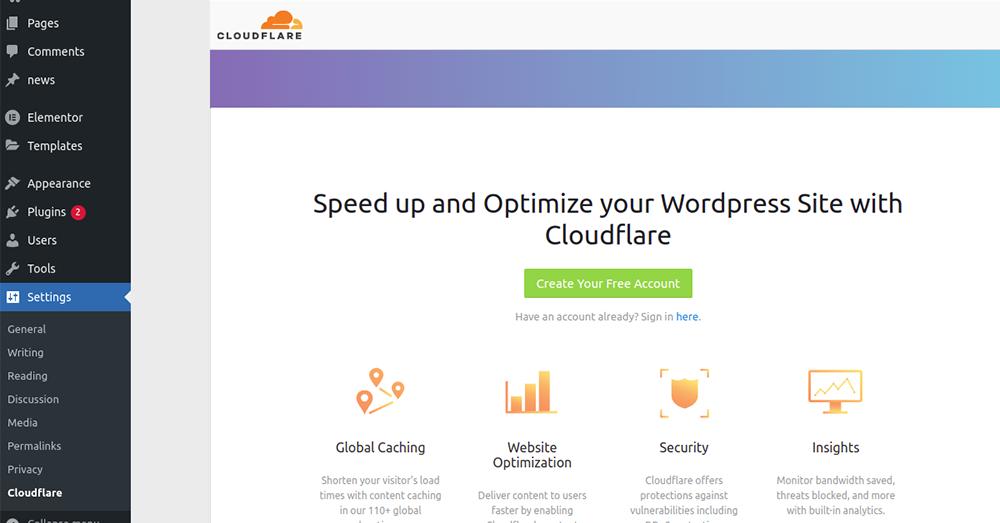 Optimize the Cloudflare settings  WordPress site.