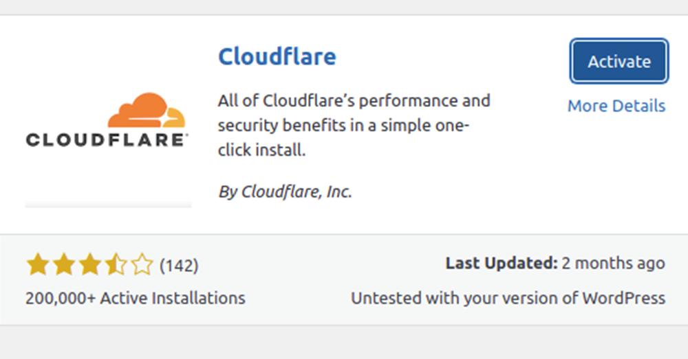 Activate Cloudflare plugin