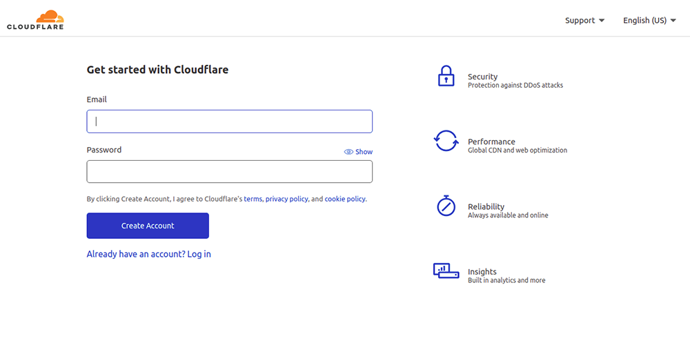 Sign up for Cloudflare account